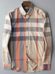 $enCountryForm.capitalKeyWord Australia - Mens Bur berrys shirt designer top quality summer long sleeve blouse plaid pattern lightweight business shirts tide tShirts loose large size