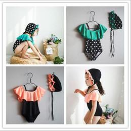 2d9210da82 2019 kids swimwear With Cap Korean kid bikini ruffle Lotus leaf Polka Dot  suspender Princess swimsuit One-Pieces bathing suits Kids boutique