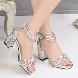 Silver Ladies Canvas Shoes Australia - New ladies Puppy heel sandals woman shinny dress shoes fashion rhinestone crystal sandal ornament buckle girl's party super silver shoes