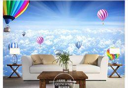 Balloon wall stickers online shopping - Custom d silk photo mural wallpaper Sky Clouds Hot Air Balloons Beautiful Mural D Living Room TV Background Wall Stickers