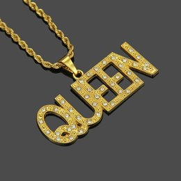 $enCountryForm.capitalKeyWord NZ - Royal Crystal Pendant Gold Necklaces Long Queen Cute Chain Hip Hop Necklace Party Jewelry For Gift Women Man Unisex Gift Box