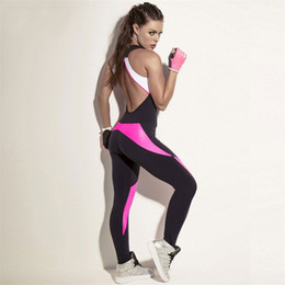 54ea1ee45b3 Women Yoga Suit Color Collision Splicing Tight Jumpsuits Sexy Fashion  Popular Resilient Soft Sport Fitness Wear Hot Sale 43mlD1