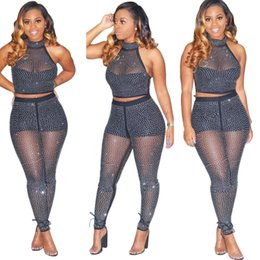 $enCountryForm.capitalKeyWord NZ - Designer Women Clothes two piece outfits sequins halter crop top long leggings sexy see through two pieces set bodycon club tracksuit A6103