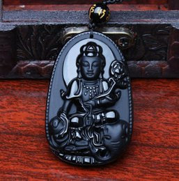 Security Pendant Australia - natural obsidian pendant Guanyin Bodhisattva head pendant for security and peace