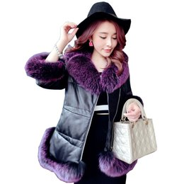 Genuine Sheepskin Leather NZ - New Winter Genuine Sheepskin Leather Jacket Women Real Fox Fur Collar Coat Vintage Duck Down Jackets Parka Chaqueta Mujer Z969