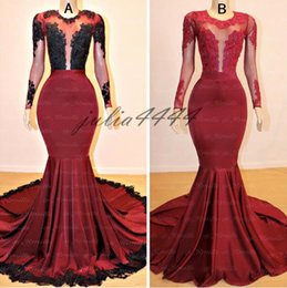 petite long black evening skirt NZ - 2019 Black Girls Burgundy Mermaid Long Prom Dresses Sexy Jewel Neck Elastic Stain Skirt Evening Party Gowns