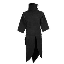 $enCountryForm.capitalKeyWord UK - Adult Men The Medieval Renaissance Wizard Costume Tops Vest Medieval Halloween Cosplay High Neck Top Shirt Black Clothing Men