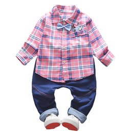Wholesale quality children boys clothing sets spring bebe boys plaid clothes suit children formal clothing tracksuit for boys