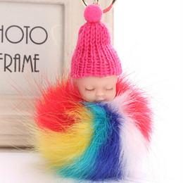 cute colorful bags 2019 - Colorful Cute Sleeping Baby Doll Keychain Pompom Fur Ball Key Chain Car Keyring Women Key Holder Bag Pendant Charm Acces