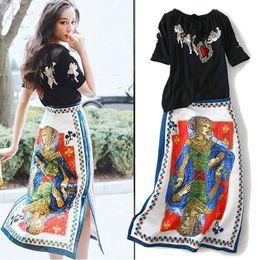 $enCountryForm.capitalKeyWord Australia - 2 Pieces Women Embroidery Blouses Tops And Vintage Retro Floral Print Sequins Elegant Ladies Party Skirt Suits