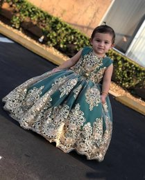 wedding gold crystals Australia - Gold Embroidery Crystal Pearls Beaded Flower Girl Dresses For Wedding Jewel Cap Sleeve Ball Gown Girls Pageant Dress Kids Toddlers Party