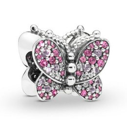 $enCountryForm.capitalKeyWord Australia - 2019 NEW 100% 925 Sterling Silver Dazzling Pink Butterfly Charm Women's Fit DIY Bracelet & Bangle Original Fashion Jewelry Gift