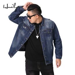 Wholesale big denim jacket resale online – HMILY Men Denim Jacket Men s Casual Jeans Outerwear Man Cotton Denim Jackets Tops Deep Blue spring autumn Clothes Big size