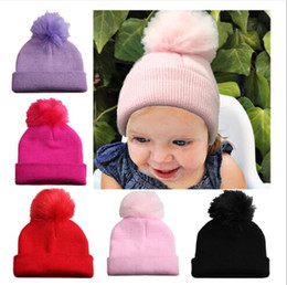 $enCountryForm.capitalKeyWord UK - 5 Candy Colors Infant Winter Autumn Knitted India's Hat Fuzzy Ball Children Hair Accessories Hat FD3109