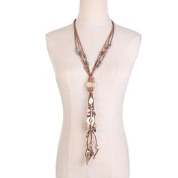 China Bohemia Women Necklace Seashell Resin choker Multi-layer Necklace Long Sweater Chain Clothes Decor jewelery Woman's accesories cheap bohemia clothing suppliers