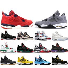 Discount cool mens tennis shoes FIBA Neon What The 4 Cool Grey Splatter Basketball Shoes 4s New Bred Singles Day Travis Royalty Mens Baskets Sports Snea