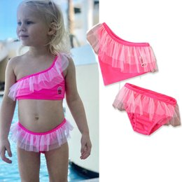 Discount hot pink two piece swimsuit - 2018 New girls sexy swimsuit children's lace hot pink bikini two pieces kids beach vacation clothes princess swimwe