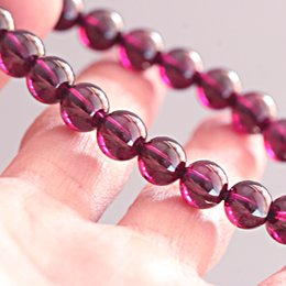 natural garnet stones Canada - 7A+ High Quality 100% Natural Stones Purple Brazil Garnet Bracelets Crystal Quartz Bracelets Women Men Energy Gemstone Jewelry
