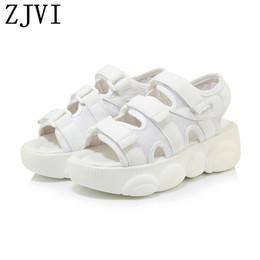 Flat Shoes Sandals For Women Australia - ZJVI women summer black platform sandals woman fashion flats sneakers white wedges heels shoes for girls sandalias mujer 2019