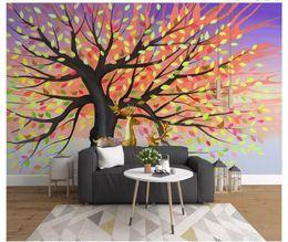 $enCountryForm.capitalKeyWord Australia - Papel de parede Custom 3d photo murals wall paper Simple watercolor hand-painted abstract tree fortune tree elk bedroom TV sofa background