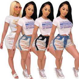 Wholesale womens denim shorts resale online - Women Summer sexy shorts Jeans fashion Tassel ripped Denim Shorts high waist Vintage hollow out Fringe jeans womens streetwear clothing