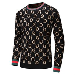 Wholesale hand pullovers resale online - Men s Brand Fashion Letter Embroidery Knitwear Winter Men s Clothing Crew Neck Long Sleeve Sweater for Men Designer Hoodies New Arrivals