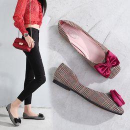 Ladies Soft Canvas Shoes Australia - New summer women designer ballet flats black red plaid canvas square toe soft bottom comfortable loafers,ladies party dress shoes 35-40