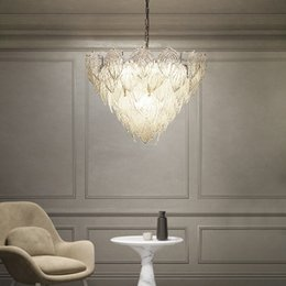 Leaves Lights Australia - Modern glass leaves LED Pendant Lights gold circle Dia.60cm 80cm For Bedroom lamparas Home Decoration Lamp hanglamp luminaire