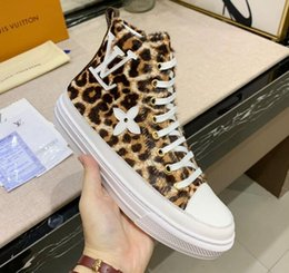 Leopard print shoe boots online shopping - Chic Branded Women Flower Leather Stellar Sneaker Boot Designer Lady Lace up Bold Leopard Print Canvas Rubber Sole Flat Shoes