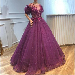 red fitted dress long sleeve prom UK - 2020 Saudi Arabic Purple Prom Dresses Pearls Fitted Poet Short Sleeve Sheer Neck Petal Appliques Long Evening Gowns Pageant Dress
