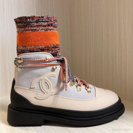 Thick velveT heels online shopping - Winter New Leather Plus Velvet Martin Boots Trend Outdoor Flat bottom Color Matching Even Socks Thick Heel Socks About Machine Boots