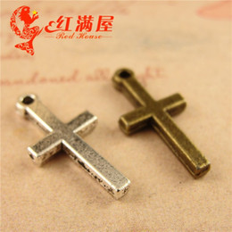 $enCountryForm.capitalKeyWord NZ - 19*9MM Antique Bronze DIY mobile phone jewelry accessories wholesale pendant cross charms, tibetan silver alloy crucifix charm