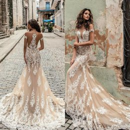 Discount deep neckline wedding dresses - Modern Champagne Julie Vino Wedding Dresses 2019 Off Shoulder Deep Plunging Neckline Bridal Gowns Sweep Train Lace Weddi
