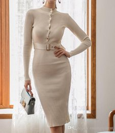 white bodycon sweater dress Australia - Knitted Sweater Dress Women Autumn Winter Elegant Casual Bodycon Midi Dresses Knee Length Button Belt Solid Long Sleeve Dress67