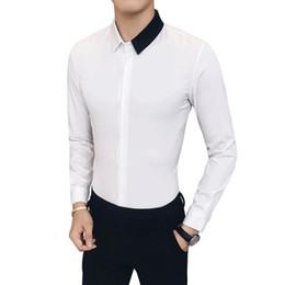 $enCountryForm.capitalKeyWord Australia - Nice Mens Cotton Black White Stitching Color Shirts Casual Slim Fit Man Lapel Large Size Long-sleeved Shirts Male S-4xl