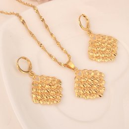 mexican lanterns UK - 18 k Yellow Solid Gold Filled Two Pcs Set Korean style lanterns Pendant earring set bling hanging dangle Pendant earring