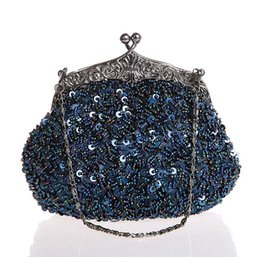 Wholesale Navy Blue Ladies Beaded Sequined Wedding Evening Bag Clutch handbag Bridal Party Makeup Bag Purse G