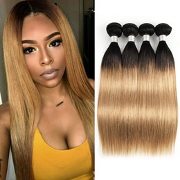 22 27 Straight Hair Australia - 8A Ombre Honey Blonde Hair Weave Bundles Color 1B 27 Brazilian Virgin Straight Hair 3 4 Bundles 10-24 inch Remy Human Hair Extensions
