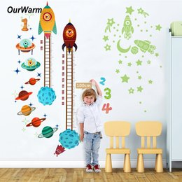 glow party decorations Australia - OurWarm Birthday Party Decorations Kids Space Theme Glow PVC Height Stickers Outer Space Planet Stickers Home Decoration