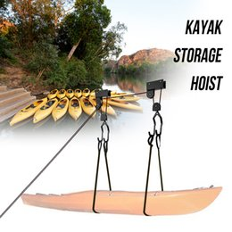 125 Bike Australia - Powder Coated Steel Canoe Boat Kayak Hoist Pulley System Lift Ladder Lift 125 lb Capacity Bike Garage Hoist Boat tools