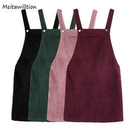 73edea799a4 Autumn Retro Corduroy Vest Overall Women Dress Sarafan Ladies Sleeveless  Pocket Suspende Casual Dress Loose Natural Dresses