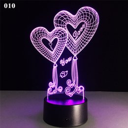 Valentine Heart Lights Australia - Valentines Day 3D USB Night Lamp Creativity 3D Stereo Touch Lights Love Heart Multicolor Decorative Nightlight Lamps Table Desk LED Lamp