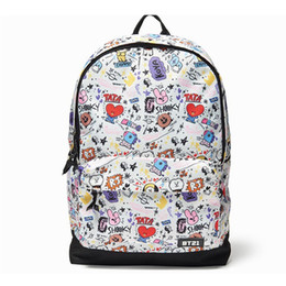 Mesh Fiber Australia - Bt21 Signature Backpack Bts Character Graphic Mesh Backpack School Book Travel Shoulder Bag Free Shipping