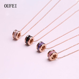 roses for women Australia - OUFEI Korean fashion Necklace Colorful Stone Necklace Pendant Rose Gold Rhinestones Round For Women Jewelry Gift