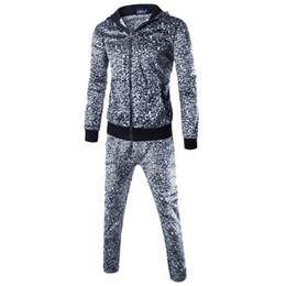 leopard print goods 2019 - good quality Tracksuit Men Sports Suit Leopard Print Autumn Patchwork Sweatshirt Tops Pants Sets Warm Sport Suit Men Tra