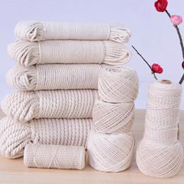 Vente en gros Corde de corde de coton beige - Multi taille bricolage épais ficelle tressée corde corde à la main artisanat décoratif à la maison multi-fonction (1-6mm)