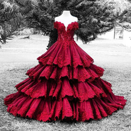 $enCountryForm.capitalKeyWord NZ - Vintage Dark Red Ball Gown Gothic Colorful Wedding Dresses Off the Shoulder Beaded Lace Appliques Satin Colored Bridal Gowns Luxury Custom