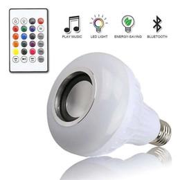 Rgb Wireless Controller Australia - E27 Smart RGB RGBW Wireless Bluetooth Speaker Bulb 12W LED Lamp Light Music Player Dimmable Audio 24 Keys Remote Controller