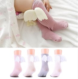 Discount toddler ruffled socks - Cotton Baby Socks 3D Angel Wings Kids Socks Candy Color Knee High Sock Ruffles Toddler Leg Warmers 4 Colors Optional YW2