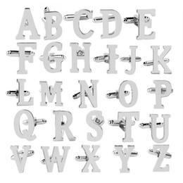 Abotoaduras iniciais clássicas 26 alfabeto inicial carta abotoaduras camisas de casamento de negócios A-Z venda por atacado